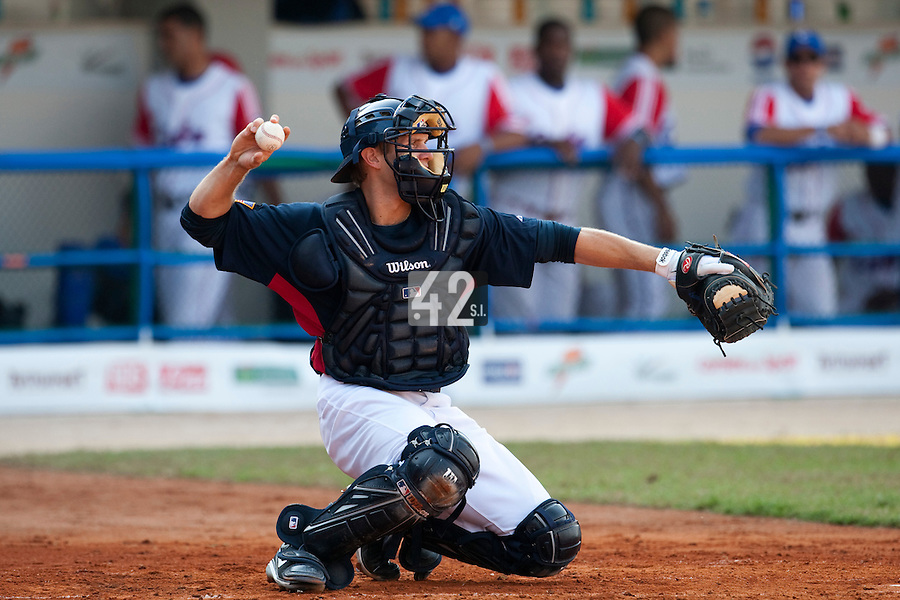 27 September 2009: Lucas May of Team USA is seen catching during the 2009 Baseball World Cup gold medal game won 10-5 by Team USA over Cuba, in Nettuno, Italy.