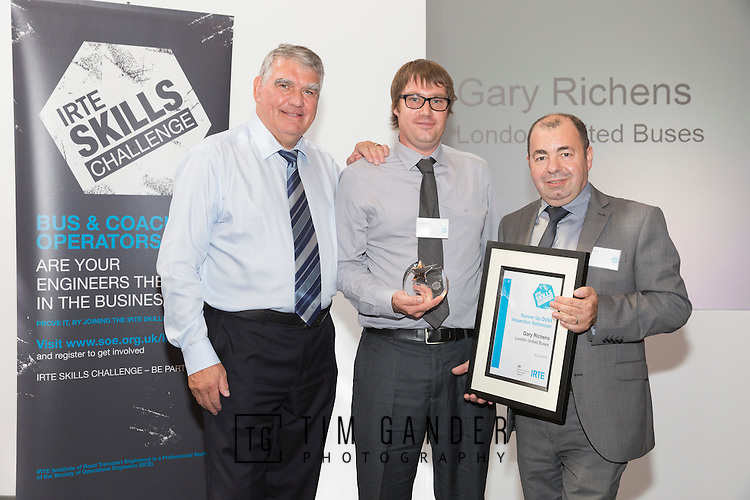 17/07/2015 The IRTE Skills Challenge 2015 prize-giving takes place at The National Motorcycle Museum, Birmingham. Sir Moir Lockhead (left) presents the Runner Up DVSA Inspection Technician award to Gary Richens of RATP with Dave Easton (right) of DVSA.