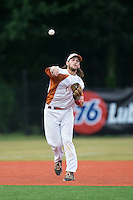 Asheboro Copperheads third baseman Skyler Geissinger (15) makes a throw to first base against the Gastonia Grizzlies at McCrary Park on June 1, 2015 in Asheboro, North Carolina.  The Copperheads defeated the Grizzlies 11-6. (Brian Westerholt/Four Seam Images)