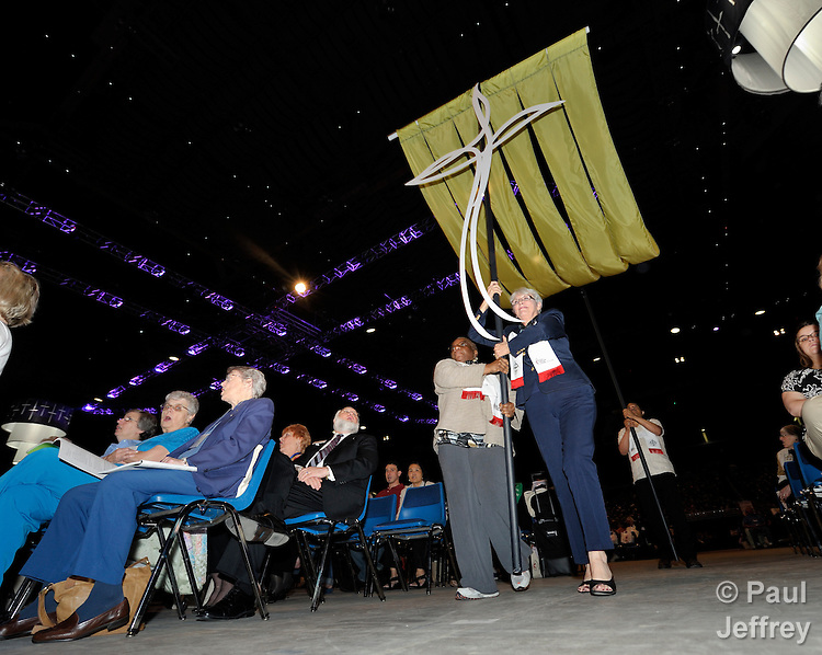 Banners are brought into opening worship of the 2010 United Methodist Women's Assembly in St. Louis, Missouri.