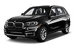2017 BMW X5 xDrive35d 5 Door SUV angular front stock photos of front three quarter view