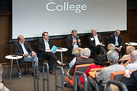 "Alumni Reunion Weekend panel on ""The 2016 Presidential Campaign: Train Wreck or an Energized Democracy?"" featuring (seated from left to right): Grant Woods '76, former chief of staff to John McCain and Arizona attorney general; Chris Hamel '76, managing director and head of the municipal finance group at RBC Capital Markets; Robert Robb '76, editorial columnist for the Arizona Republic and former chairman of the U.S. Senate campaign of Arizona Senator Jon Kyl and Fred DuVal '76, former Clinton White House staff, Democratic nominee for Arizona governor in 2014, Oxy's 2016 Alumnus of the Year.<br /> The class of 1976 entered Occidental during Nixon's re-election campaign and in the four years to come was energized by both Vietnam and Watergate as political topics. As a result, the class produced an unusually large number of politically engaged graduates. Four members of the class of '76 arrived from Arizona and were drawn together by politics and the student newspaper for which they all wrote. They developed significantly different political ideologies and intensified their friendship in the decades since, even as they have often been political opponents. They discussed the importance and meaning of the 2016 presidential campaign and made predictions about its outcome and the future of the country.<br /> June 11, 2016 in Choi Auditorium.<br /> (Photo by Marc Campos, Occidental College Photographer)"