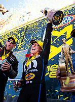 Aug 18, 2019; Brainerd, MN, USA; NHRA top fuel driver Leah Pritchett celebrates after winning the Lucas Oil Nationals at Brainerd International Raceway. Mandatory Credit: Mark J. Rebilas-USA TODAY Sports