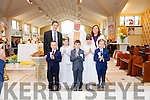 Children from Knocknasna N.S. who received First Holy Communion last Saturday in Abbeyfeale.<br /> L-R Evan O' Connor, Ria Cahill, John Kennedy, Chloe Meehan, Tommy Rottery.<br /> Pictured with Canon O' Shea , school principal Billy Quirke &amp; teacher  Miss Dolores Keane.