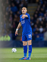 Yohan Benalouane of Leicester City during the UEFA Champions League QF 2nd Leg match between Leicester City and Atletico Madrid at the King Power Stadium, Leicester, England on 18 April 2017. Photo by Andy Rowland.