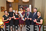 Pictured at the Official Launch of Herbs & Roses by C Spa at the Carlton Hotel on Thursday evening were, from left: Martina McAuliffe (Spa Therapist), Sophia Weir, Alexandra Rowan, Tara Talbot (Rose of Tralee 2011), Mayor Tim Buckley, John Varley (Managing Director Carlton Hotel) and Kiva Moriarty.