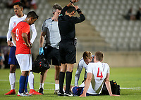 Sam Field of England was forced to leave the field with an injury during Chile Under-21 vs England Under-20, Tournoi Maurice Revello Football at Stade Parsemain on 7th June 2019