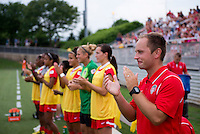 Washington Spirit head coach Mark Parsons watches his team before the game at the Maryland SoccerPlex in Boyds, Md.   Chicago defeated Washington, 2-0.
