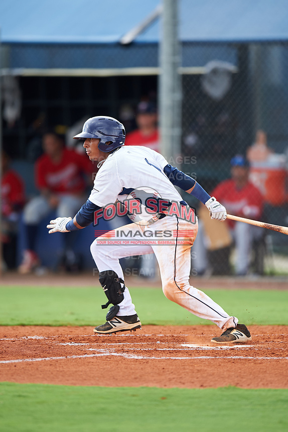 GCL Rays shortstop Luis Leon (1) follows through on a swing during the second game of a doubleheader against the GCL Twins on July 18, 2017 at Charlotte Sports Park in Port Charlotte, Florida.  GCL Twins defeated the GCL Rays 4-2 after the game was postponed in the second inning to the following day at Charlotte Sports Park in Port Charlotte, Florida.  (Mike Janes/Four Seam Images)