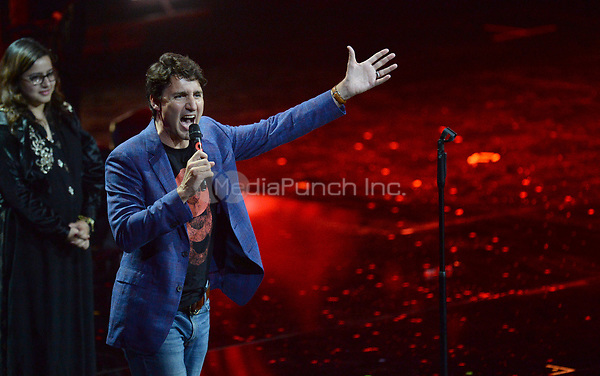 Canadian Prime Minister Justin Trudeau speaks during the first Global Citizen Festival Concert in Hamburg, Germany, 06 July 2017. The G20 Summit of the heads of government and state takes place on 7 and 8 July 2017 in Hamburg. Photo: Daniel Reinhardt/dpa /MediaPunch ***FOR USA ONLY***