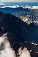 France, île de la Réunion, Parc national de La Réunion, classé Patrimoine Mondial de l'UNESCO,   Le Piton des Neiges (3070m) ,  et le  cirque de Cilaos en fond vue aérienne //   France, Reunion island (French overseas department), Parc National de La Reunion (Reunion National Park), listed as World Heritage by UNESCO,  the Piton des Neiges (Snow Peak) , cirque of Cilaos in the background,  aerial view