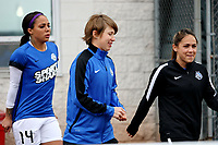 Piscataway, NJ - Sunday April 30, 2017: Sydney Leroux, Becca Moros, Lo'eau LaBonta during a regular season National Women's Soccer League (NWSL) match between Sky Blue FC and FC Kansas City at Yurcak Field.