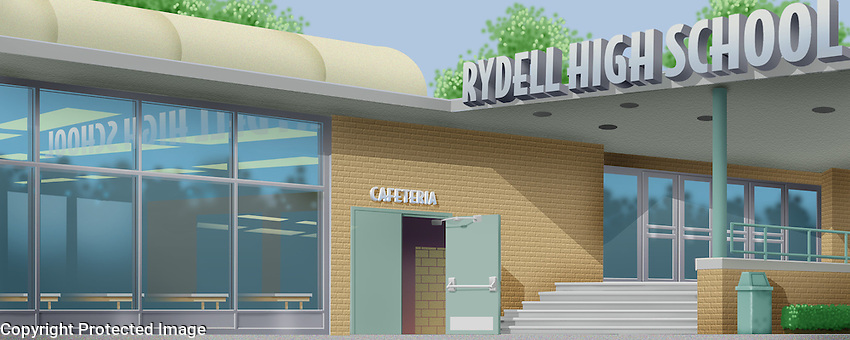 The exterior or Rydell High School. For Kenmark Scenic Backdrops, Inc.