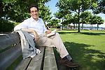 Darius Rochebin swiss journalist and anchorman in Hermance, Geneva.