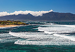 A view of the West Maui mountains as seen from the Ho'okipa Beach lookout (located on the Hana Highway east of Paia, on the north shore of the island of Maui)