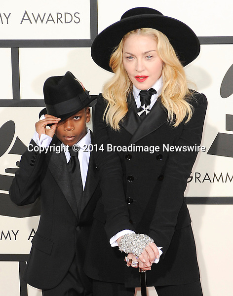 Pictured: Madonna, David Banda<br /> Mandatory Credit &copy; Adhemar Sburlati/Broadimage<br /> The Grammy Awards  2014 - Arrivals<br /> <br /> 1/26/14, Los Angeles, California, United States of America<br /> <br /> Broadimage Newswire<br /> Los Angeles 1+  (310) 301-1027<br /> New York      1+  (646) 827-9134<br /> sales@broadimage.com<br /> http://www.broadimage.com