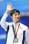 Ryosuke Irie (JPN), <br /> AUGUST 19, 2018 - Swimming : <br /> Men's 100m Backstroke Medal Ceremony <br /> at Gelora Bung Karno Aquatic Center <br /> during the 2018 Jakarta Palembang Asian Games <br /> in Jakarta, Indonesia. <br /> (Photo by Naoki Nishimura/AFLO SPORT)