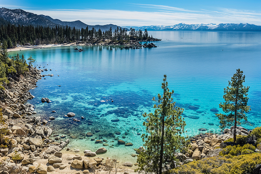 A photo of Sand Harbor at Lake Tahoe.