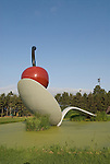 Minnesota, Twin Cities, Minneapolis-Saint Paul: Sculpture Spoonbridge and Cherry by Claes Oldenburg at the Minnesota Sculpture Garden next to the Walker Art Center..Photo mnqual212-74857..Photo copyright Lee Foster, www.fostertravel.com, 510-549-2202, lee@fostertravel.com.