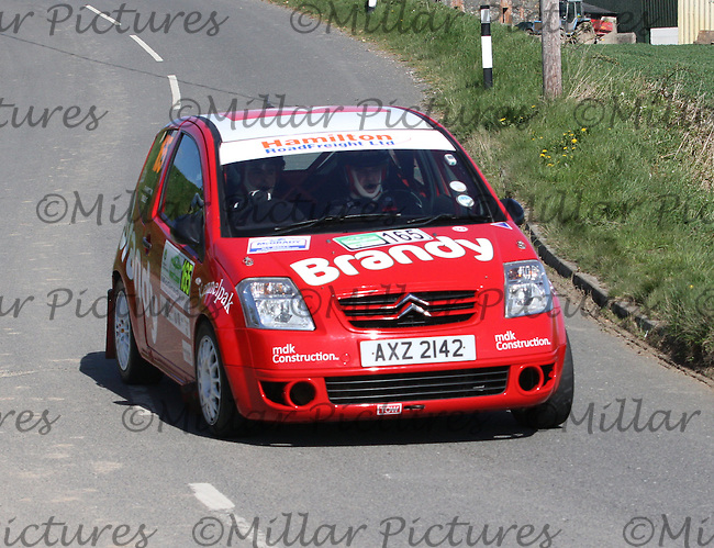 Philip Hamilton - Damian Kelly in a Citroen C2 near Junction 4 on Special Stage 1 Loughries Village of the Discover Northern Ireland Circuit of Ireland Rally which was a constituent round of  the FIA European Rally Championship, the FIA Junior European Rally Championship, the Clonakilty Irish Tarmac Rally Championship, and the MSA ANICC Northern Ireland Stage Rally Championships which took place on 18.4.14 and 19.4.14 and was based in Belfast.