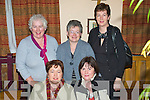 6546-6549.Pub Quiz - Having a great night out at the Ardfert Parents Association Annual Pub Quiz in aid of Ardfert N.S. in Kate Browne's Pub on Friday night were front Juliet McCrohan and Mary Fitzgerald, standing l/r Mairead Mackessy, Shunie O'Flaherty and Helen Courtney..Shunie correct.................................................................................................................... ............