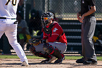 Cincinnati Reds catcher Pabel Manzanero (83) on defense during an Instructional League game against the Oakland Athletics on September 29, 2017 at Lew Wolff Training Complex in Mesa, Arizona. (Zachary Lucy/Four Seam Images)