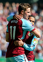 Burnley's Chris Wood celebrates scoring his side's first goal with teammate Aaron Lennon<br /> <br /> Photographer Alex Dodd/CameraSport<br /> <br /> The Premier League - Burnley v Bournemouth - Sunday 13th May 2018 - Turf Moor - Burnley<br /> <br /> World Copyright &copy; 2018 CameraSport. All rights reserved. 43 Linden Ave. Countesthorpe. Leicester. England. LE8 5PG - Tel: +44 (0) 116 277 4147 - admin@camerasport.com - www.camerasport.com