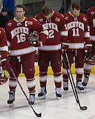 Zac Larraza (DU - 16), Ty Loney (DU - 12), Nolan Zajac (DU - 11) - The Boston College Eagles defeated the University of Denver Pioneers 6-2 in their NCAA Northeast Regional semi-final on Saturday, March 29, 2014, at the DCU Center in Worcester, Massachusetts.