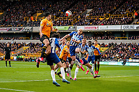 7th March 2020; Molineux Stadium, Wolverhampton, West Midlands, England; English Premier League, Wolverhampton Wanderers versus Brighton and Hove Albion; Aaron Mooy of Brighton & Hove Albion heads clear