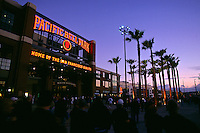 SAN FRANCISCO, CA - Exterior, scenic, night view of the new San Francisco Giants stadium, Pacific Bell Park in San Francisco, California in April of 2000. (Photo by Brad Mangin)