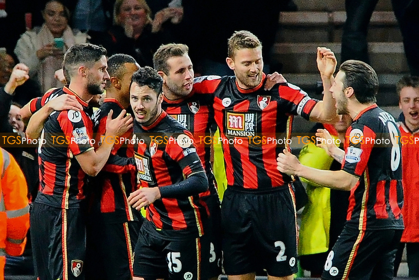 AFC Bournemouth players celebrate the second goal scored by Joshua King of AFC Bournemouth during AFC Bournemouth vs Manchester United at the Vitality Stadium