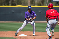 Colorado Rockies second baseman Kennard McDowell (96) attempts to turn a double play in front of Leonardo Rivas (7) during a Minor League Spring Training game against the Los Angeles Angels at Tempe Diablo Stadium Complex on March 18, 2018 in Tempe, Arizona. (Zachary Lucy/Four Seam Images)