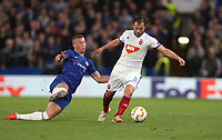 Chelsea's Ross Barkley and MOL Vidi's Szabolcs Huszti<br /> <br /> Photographer Rob Newell/CameraSport<br /> <br /> UEFA Europa League - Group L - Chelsea v MOL Vidi - Thursday 4th October 2018 - Stamford Bridge - London<br />  <br /> World Copyright © 2018 CameraSport. All rights reserved. 43 Linden Ave. Countesthorpe. Leicester. England. LE8 5PG - Tel: +44 (0) 116 277 4147 - admin@camerasport.com - www.camerasport.com