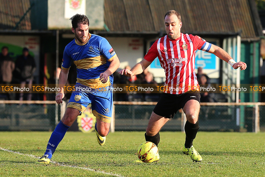 Chris Taylor of Romford and Elliot Styles of Hornchurch during AFC Hornchurch vs Romford, Ryman League Division 1 North Football at Hornchurch Stadium on 4th February 2017