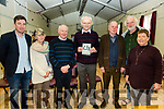 Pictured at the launch of Ballinskelligs Poet Mícheál Ó Siochrú's 8th publication 'Scáil an Scéil' on the Sunday of the Éigse Festival were l-r; Seán Mac a'tSíthigh, Fíona de Buis, Mícheál Ó Leidhin, Mícheál Ó Siochrú, Paddy Bushe, Breandán Ó Beaglaoich agus Aine Uí Bheoláin.