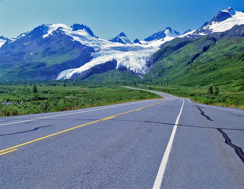 Road and Wirthington Glacier, Alaska.