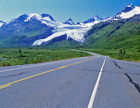Road and Wirthington Glacier, Alaska.