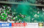 Stockholm 2015-03-14 Bandy SM-final herrar Sandvikens AIK - V&auml;ster&aring;s SK :  <br /> V&auml;ster&aring;s supportrar med r&ouml;k och flaggor under matchen mellan Sandvikens AIK och V&auml;ster&aring;s SK <br /> (Foto: Kenta J&ouml;nsson) Nyckelord:  SM SM-final final Bandyfinal Bandyfinalen herr herrar VSK V&auml;ster&aring;s SAIK Sandviken supporter fans publik supporters