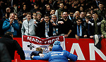 Oleksandr Zinchenko of Manchester City (foreground blue coat) poses for the Manchester City fans during the Carabao Cup match at Old Trafford, Manchester. Picture date: 7th January 2020. Picture credit should read: Darren Staples/Sportimage