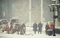 Montreal (Qc) CANADA - 1998  File photo -  snow storm in Old-Montreal