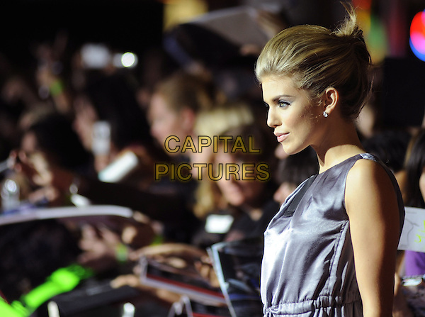 "ANNALYNNE McCORD.Premiere of ""Twilight"" held at The Mann's Village Theatre in Westwood, California, USA..November 17th, 2008.half length black silver top dress profile  silk satin blue purple.CAP/DVS.©Debbie VanStory/Capital Pictures."