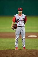 Williamsport Crosscutters relief pitcher Anton Kuznetsov (7) looks in for the sign during a game against the Batavia Muckdogs on June 22, 2018 at Dwyer Stadium in Batavia, New York.  Williamsport defeated Batavia 9-7.  (Mike Janes/Four Seam Images)