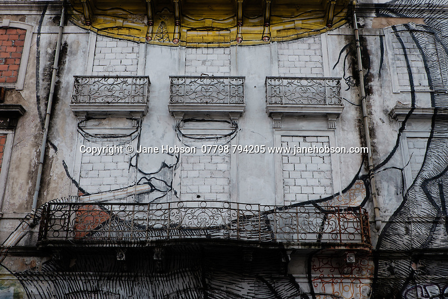 Lisbon, Portugal. 18.04.2016. Street art on Lisbon's derelict buildings. Photograph © Jane Hobson.