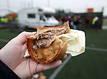 The Annan Athletic Pie served up behind the stand from a friendly crew in a caravan.  Very tasty with a wee hint of spice but fairly greasy. 6/10 not bad.