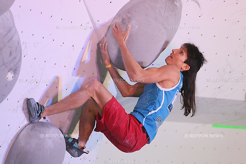 Rustam Gelmanov (RUS), <br /> APRIL 24, 2016 - Sports Climbing : <br /> IFSC Climbing World Cup - Bouldering Kazo 2016 <br /> Men's Semi-final <br /> at Kazo Civic Gymnasium, Saitama, Japan. <br /> (Photo by YUTAKA/AFLO SPORT)