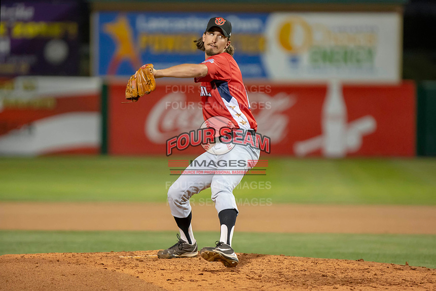 Tommy Eveld (17) of the Visalia Rawhide delivers a pitch to the plate against the South Division during the 2018 California League All-Star Game at The Hangar on June 19, 2018 in Lancaster, California. The North All-Stars defeated the South All-Stars 8-1.  (Donn Parris/Four Seam Images)