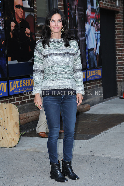WWW.ACEPIXS.COM <br /> April 21, 2014 New York City<br /> <br /> Courteney Cox after taping an appearance on the Late Show with David Letterman on April 21, 2014 in New York City.<br /> <br /> Please byline: Kristin Callahan  <br /> <br /> ACEPIXS.COM<br /> Ace Pictures, Inc<br /> tel: (212) 243 8787 or (646) 769 0430<br /> e-mail: info@acepixs.com<br /> web: http://www.acepixs.com