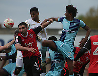 Jamal Blackman (GK) of Wycombe Wanderers heads the ball at goal against  Morecambe  during the Sky Bet League 2 match between Morecambe and Wycombe Wanderers at the Globe Arena, Morecambe, England on 29 April 2017. Photo by Stephen Gaunt / PRiME Media Images.