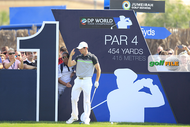 Rory McIlroy (NIR) on the 1st tee during Round 2 of the DP World Tour Championship at the Earth course,  Jumeirah Golf Estates in Dubai, UAE,  20/11/2015.<br /> Picture: Golffile | Thos Caffrey<br /> <br /> All photo usage must carry mandatory copyright credit (&copy; Golffile | Thos Caffrey)
