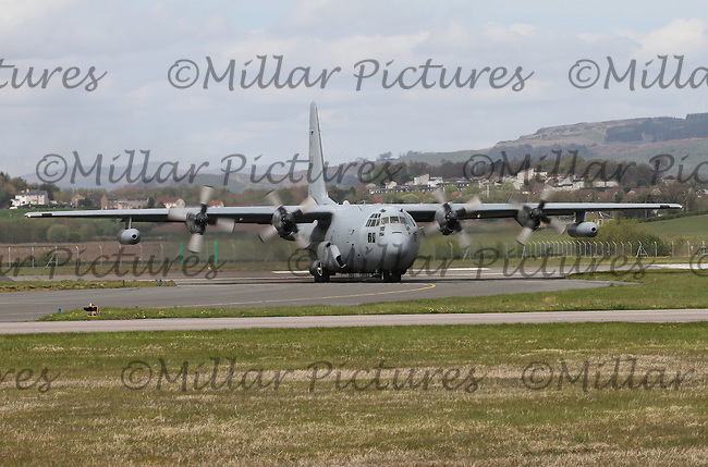 A United States Air Force Air Combat Command Surveillance Lockheed Hercules EC-130H Registration 73-1594 based at Davis Monthan, United States of America, leaving Glasgow International Airport on 6.5.16.